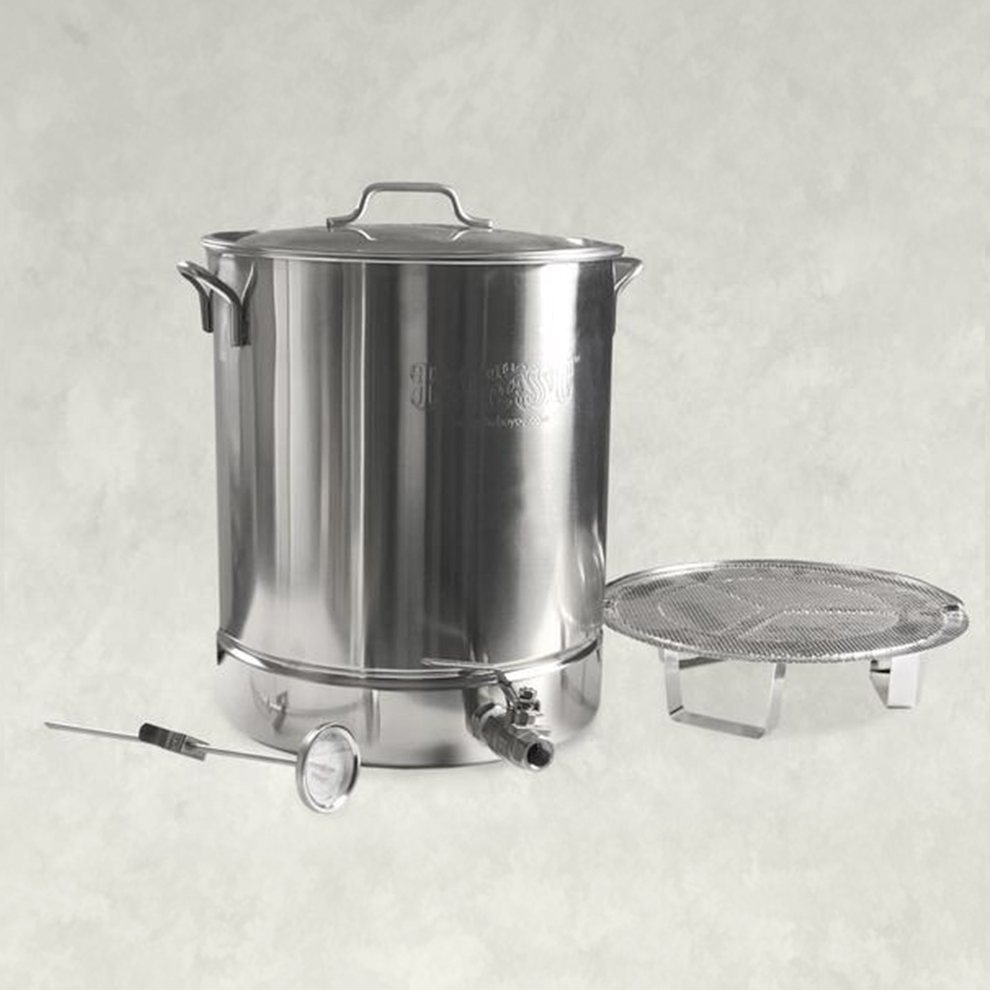 Stainless Stockpot with Spigot, False Bottom and Thermometer