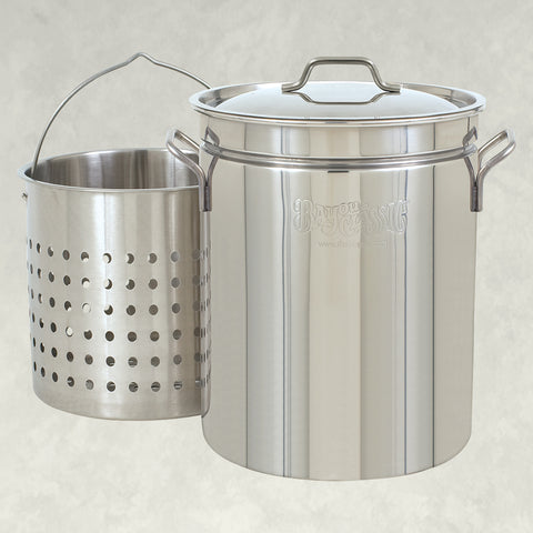 44-qt Stainless Stockpot with Lid and Basket