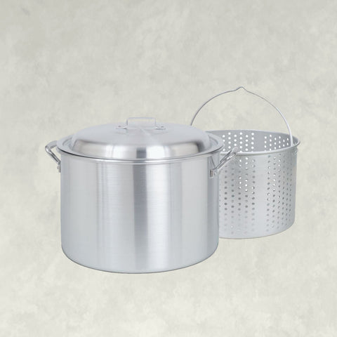 20-qt Aluminum Stockpot with Basket ~ a handcrafted classic