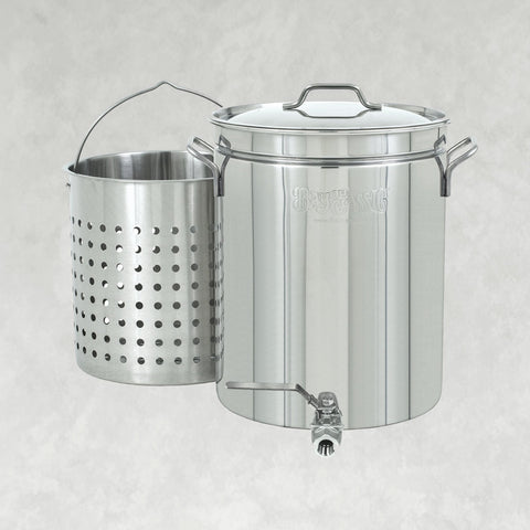 40-qt Stainless Stockpot with Elevated Steam Basket & Spigot