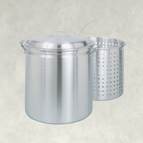 60-qt Aluminum Stockpot with Basket ~ a handcrafted classic