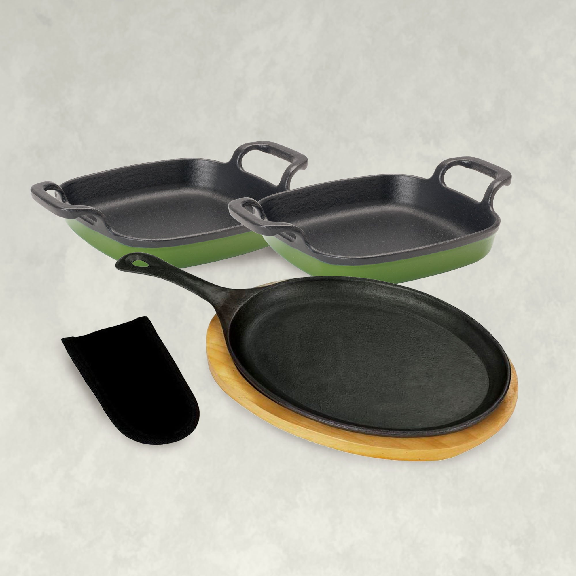 Single Fajita Pan and Enamel Cast Iron set in Cypress Green
