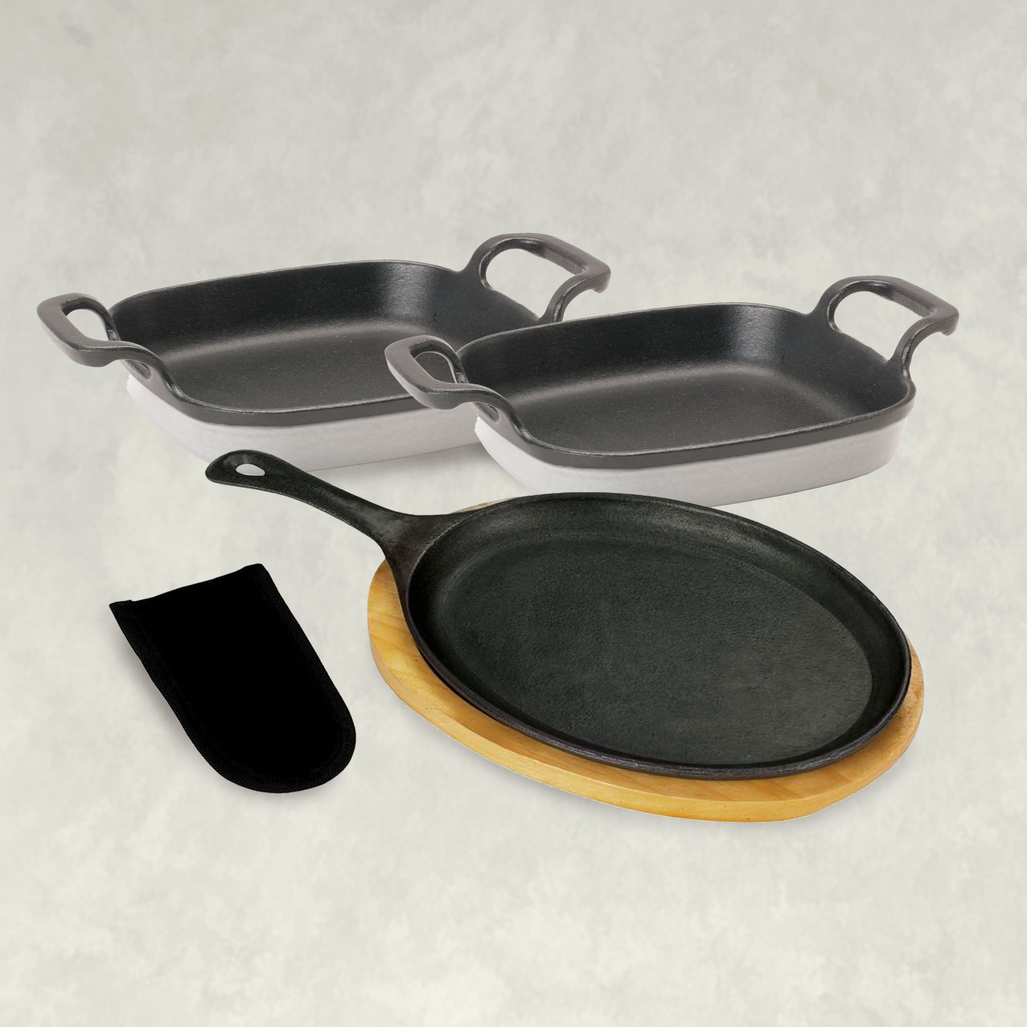 Single Fajita Pan and Enamel Cast Iron set in Weathered Gray
