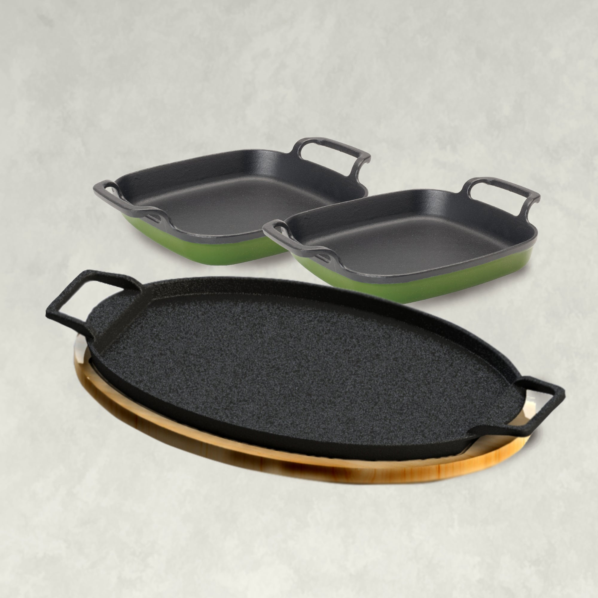 Fajita Pan with Enameled Baking Dish Kit in Cypress Green