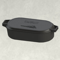6-qt Cast Iron Oval Fryer with Griddle Lid