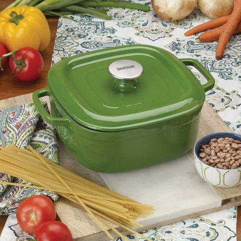 4-qt Enameled Covered Casserole, Cypress Green