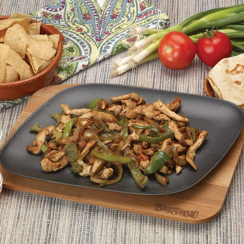 12-in Enameled Fajita Pan with Wooden Trivet