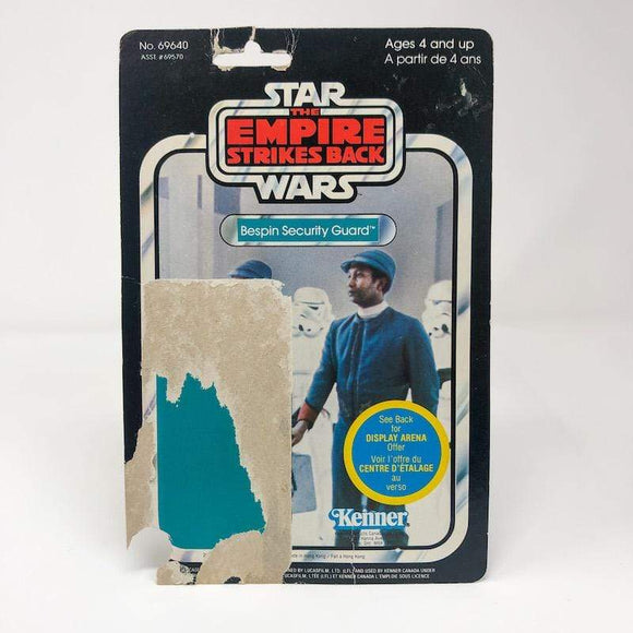 Vintage Kenner Star Wars Cardback Bespin Security Guard (Black) Canadian ESB Cardback (45-back) - cut pop