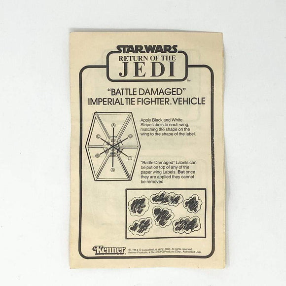 Vintage Kenner Star Wars Paper ROTJ Battle Damaged TIE Fighter Instructions