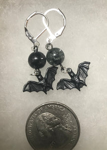 Darling Bat Drop Earrings in Black