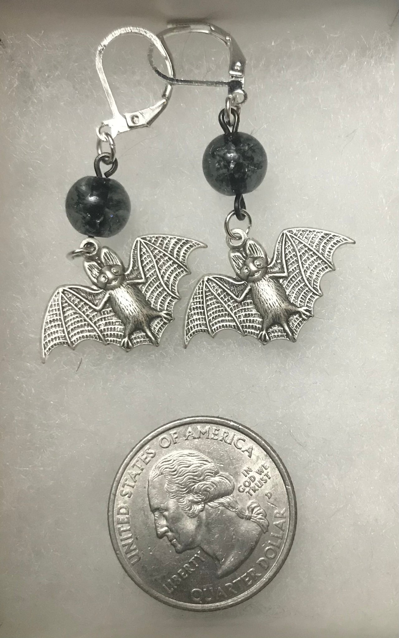Majesty Bat Drop Earrings in Silver
