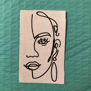 Strange Face Iron-on Patch (White)