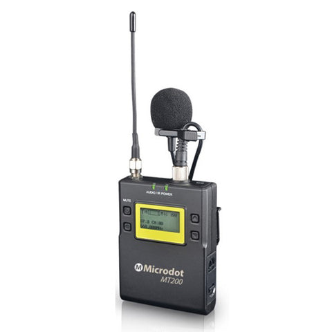 MICRODOT MT200 Bodypack Transmitter with Omni Lavalier Microphone
