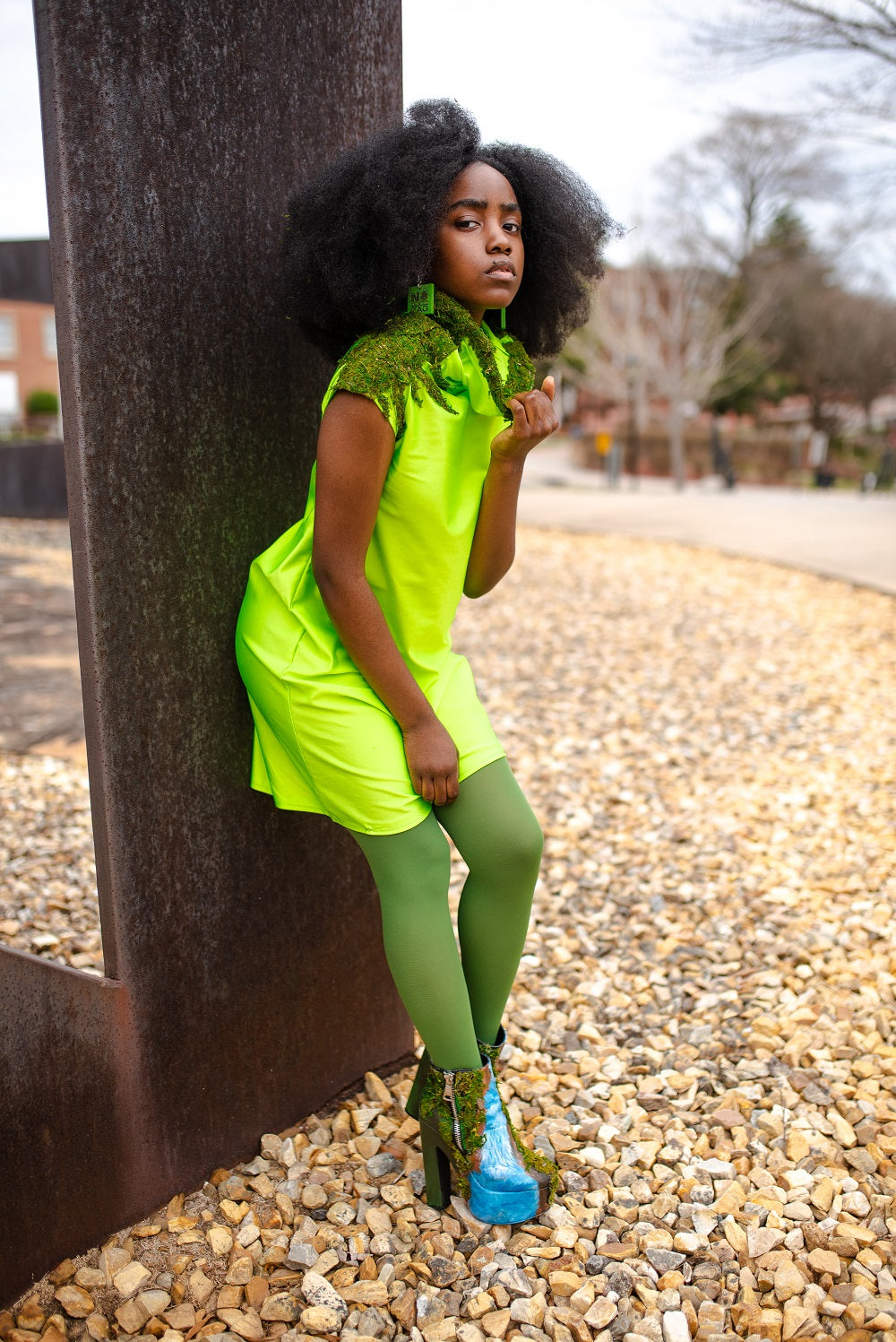 Neon Lime Wide Turtle Neck Dress
