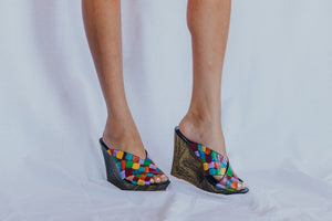 Colorful wooden heels