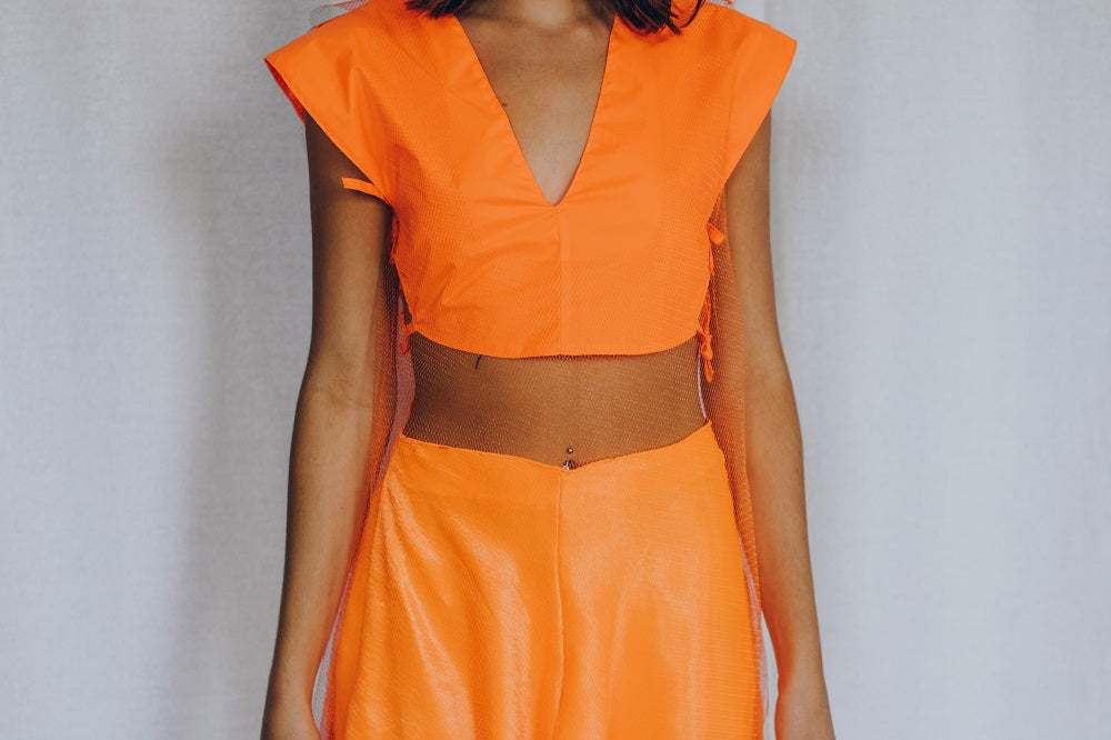 Neon Orange Vinyl V neck crop top