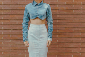 Denim Long Sleeve Collar crop top
