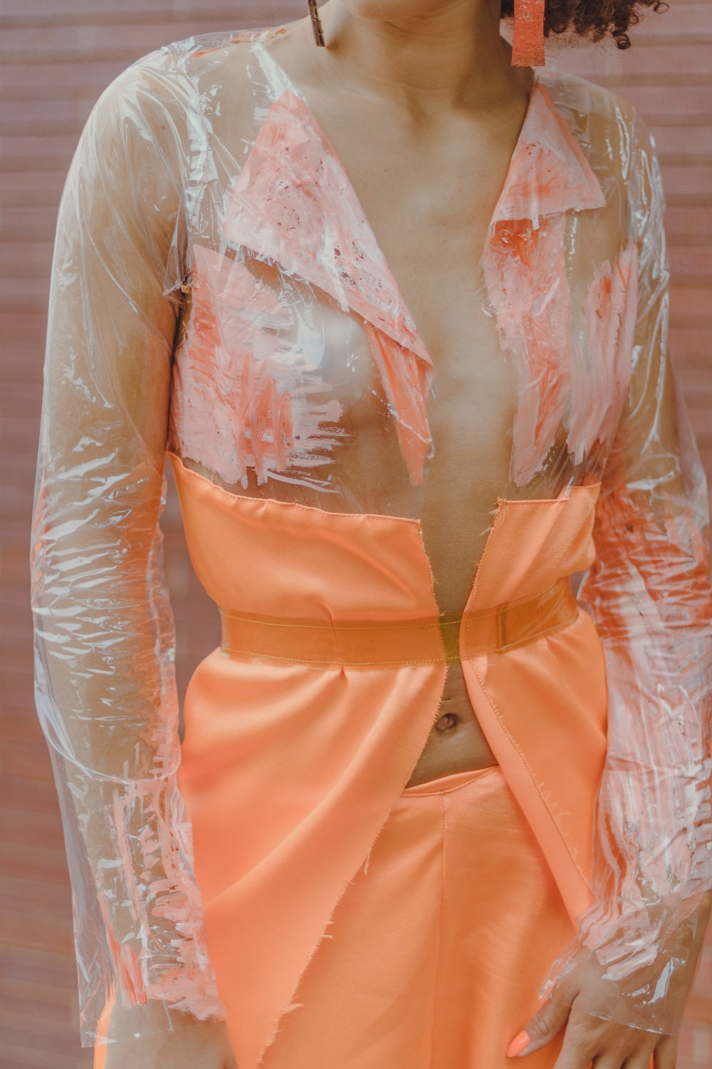 Clear Vinyl Orange Blazer and Satin Pants Set