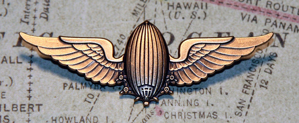 "Brass Airship Wing Pin - 3"" wide"