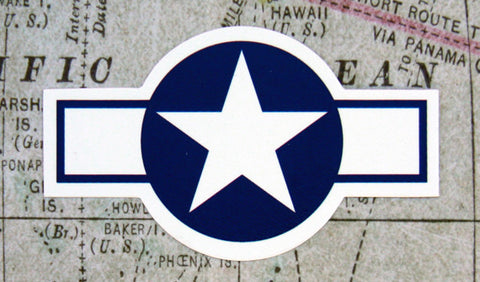 United States WWII Star/Bar Aircraft Roundel Vinyl Sticker