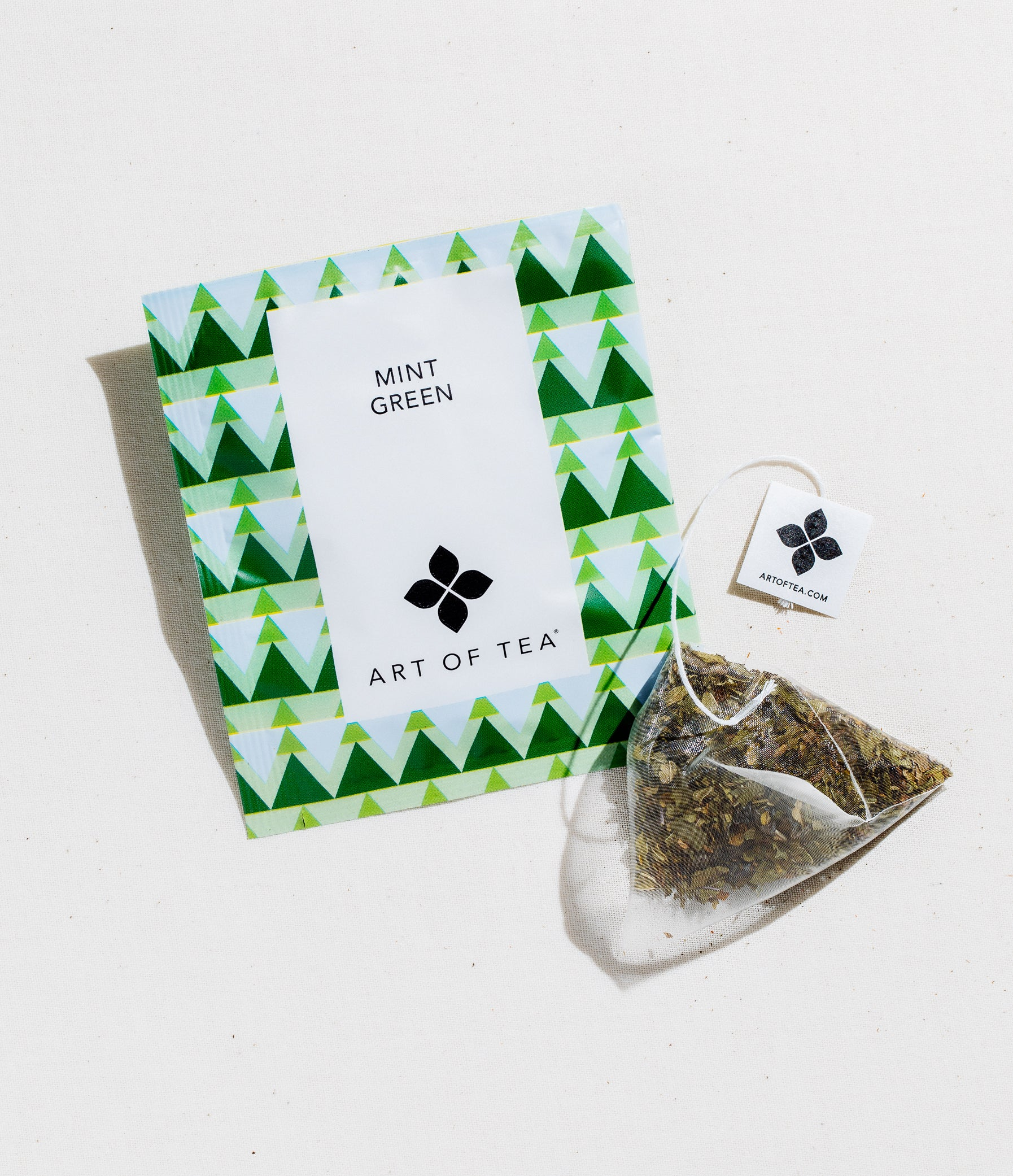 Mint Green Tea Eco Teabag Sachets Packaged Teas 50 Teabags by Art of Tea