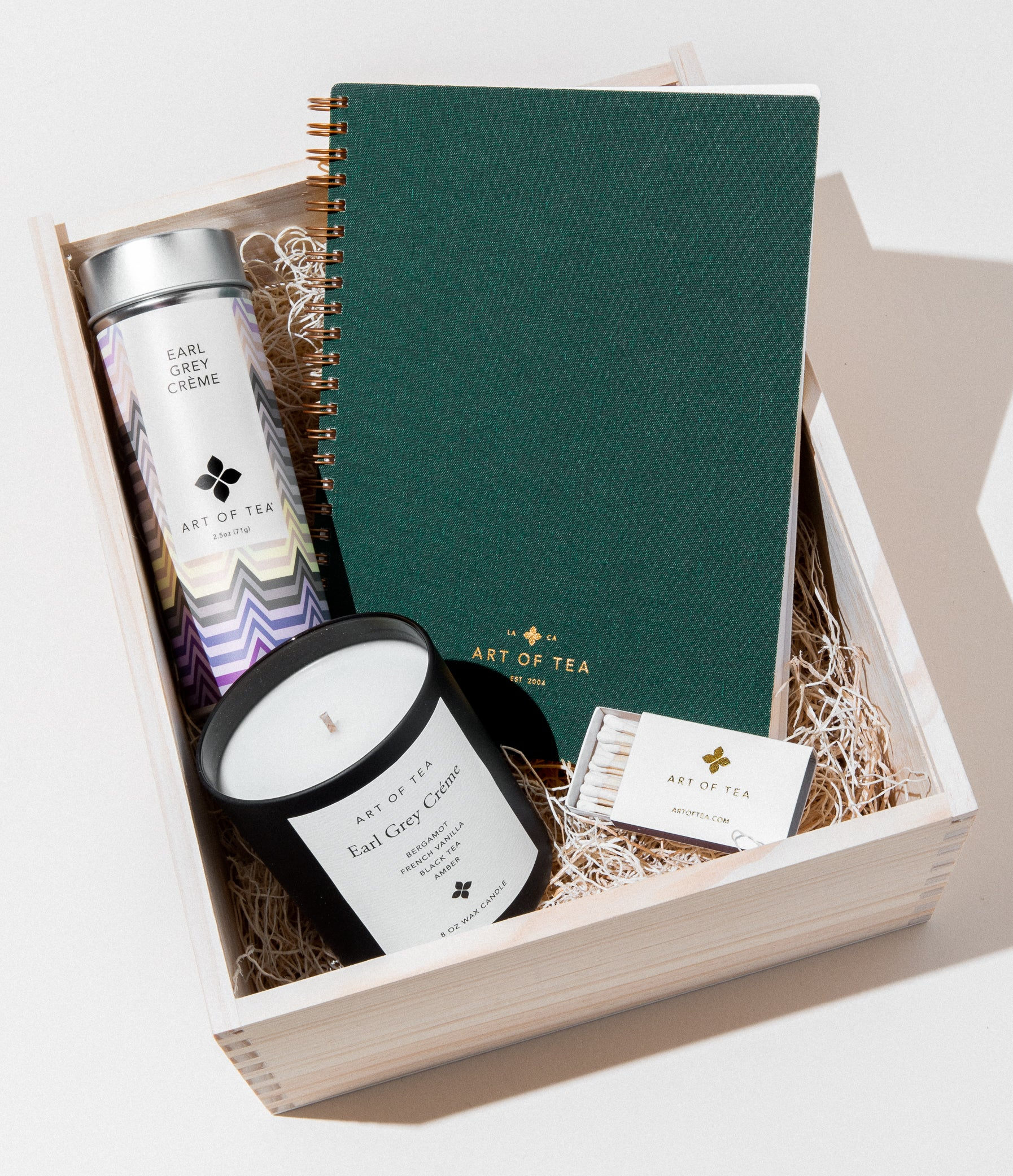 Candle, Matches, Journal, & Earl Grey Creme Retail Tin Gift Box Set Tea Gifts by Art of Tea