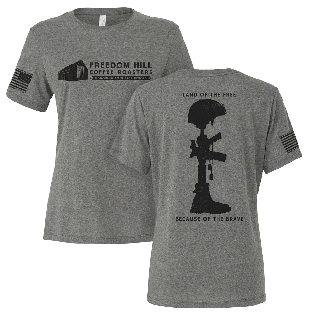 BATTLEFIELD CROSS WOMEN'S TEE - GRAY