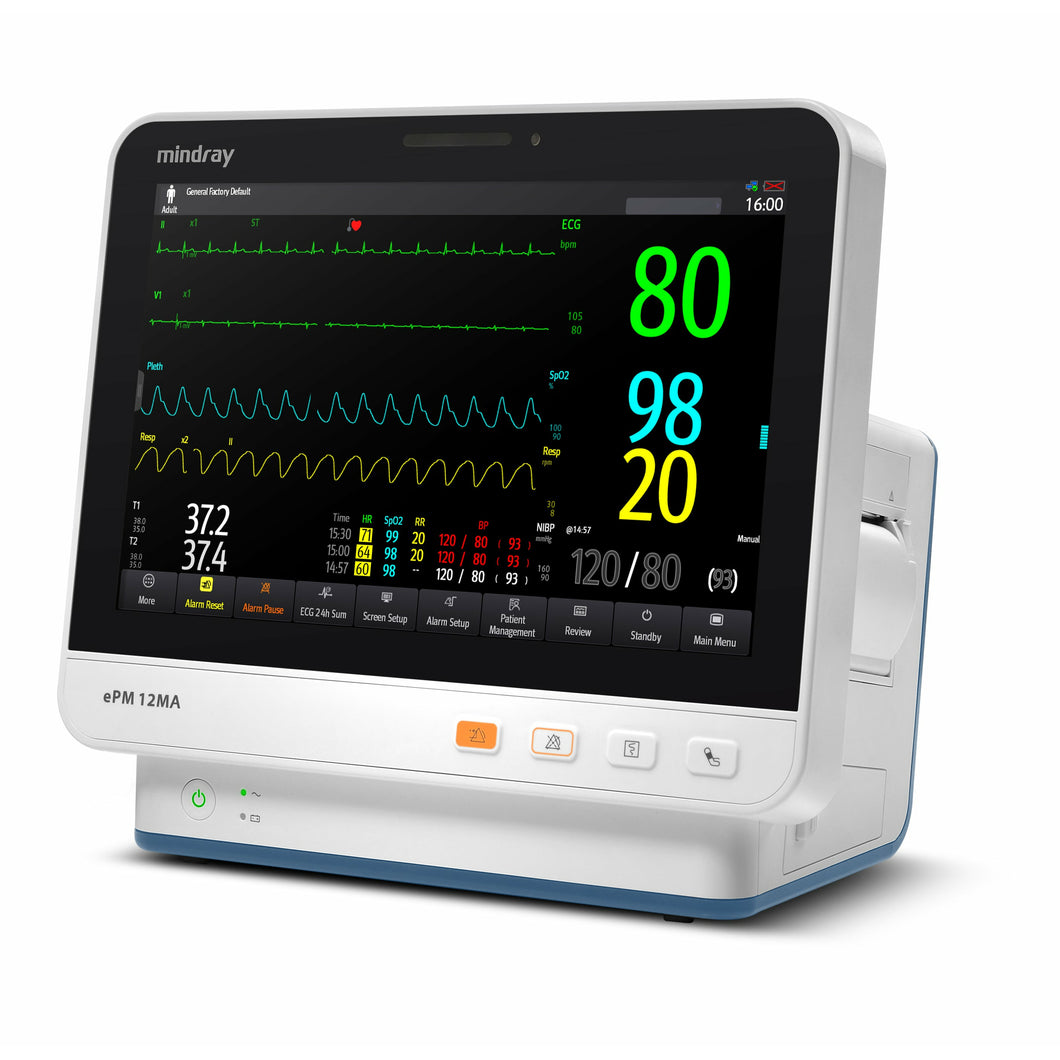 Mindray ePM 12MA Patient Monitor with Nellcor OxiMax SPO2 and Multigas
