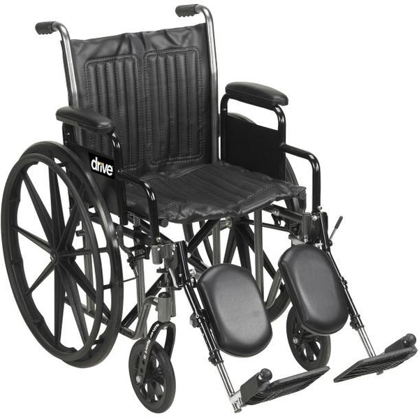 "Drive Medical Silver Sport 2 Wheelchair, 18"" Fixed Arm & Swing Away Footrest"