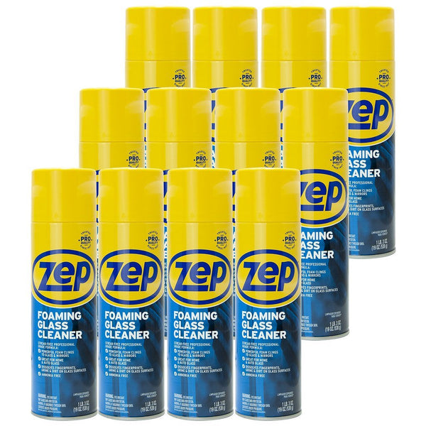 Zep Foaming Glass Cleaner 19 oz. (Case of 12) Foaming Formula Clings to Vertical Surfaces