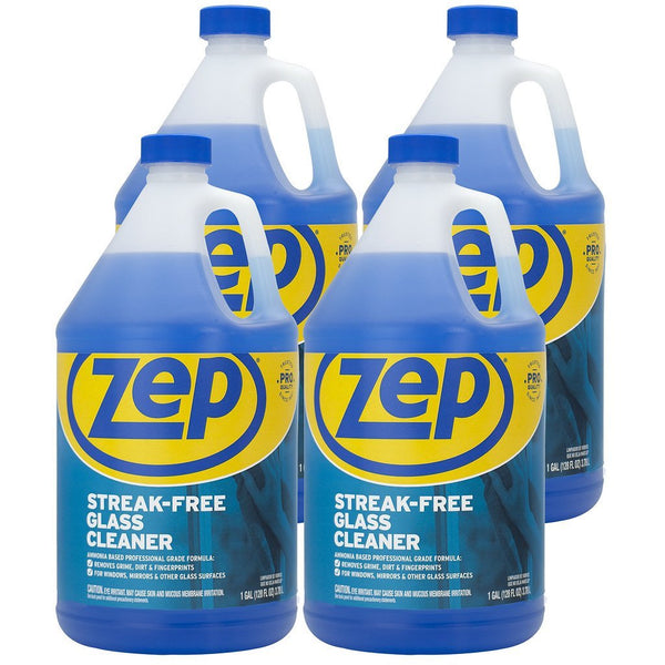 Zep Streak-Free Glass Cleaner 128 oz. (Case of 4) Dissolves grease, fingerprints & dirt