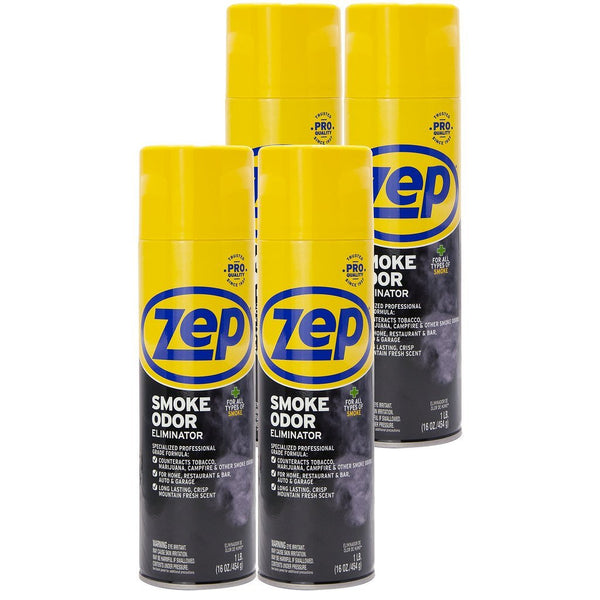 Zep Smoke Odor Eliminator Aerosol 16 oz. (Case of 4) Eliminates Tough Odors From Tobacco, Campfires, Garbage and More!