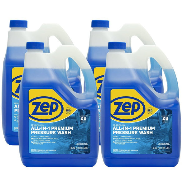 Zep All-in-1 Pressure Wash Cleaner 1.35 Gallons (Case of 4) Concentrated formula makes 26 gallons