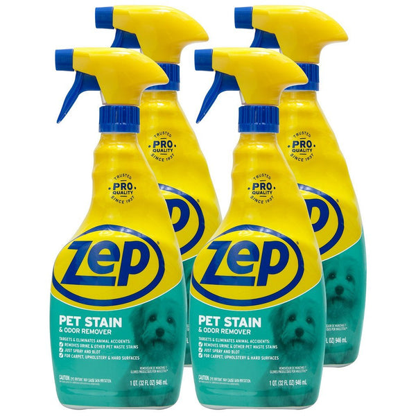 Zep Pet Stain and Odor Remover 32 oz. (Case of 4) Removes Tough Stains & Odors