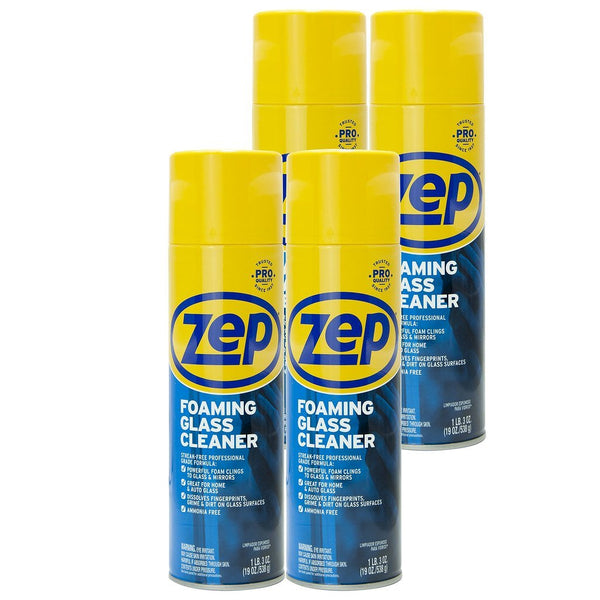 Zep Foaming Glass Cleaner 19 oz. (Case of 4) Foaming Formula Clings to Vertical Surfaces