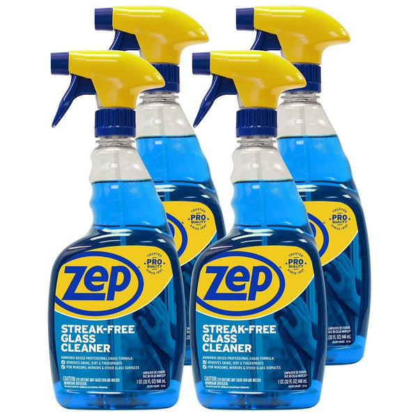 Zep Streak-Free Glass Cleaner 32 oz. (Case of 4) Just Spray & Wipe!