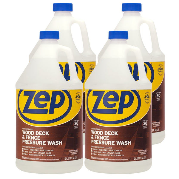 Zep Wood Deck and Fence Pressure Wash Cleaner Concentrate 128 oz. (Case of 4) - Removes Stains and Discoloration