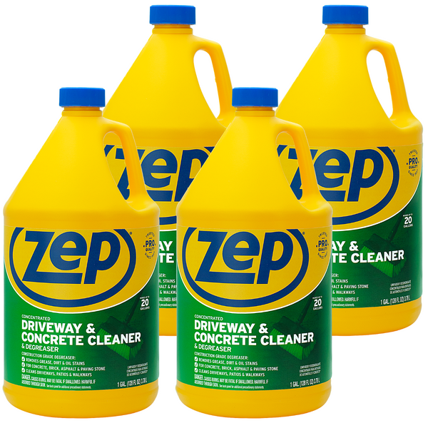 Zep Driveway, Masonry and Concrete Cleaner and Degreaser 128 oz. (Case of 4) Concentrated Solution Makes 20 Gallons!