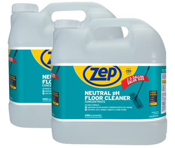 Zep Neutral pH Floor Cleaner 2.5 Gallon (Case of 2) Concentrated All-Purpose Floor Cleaner with No Residue