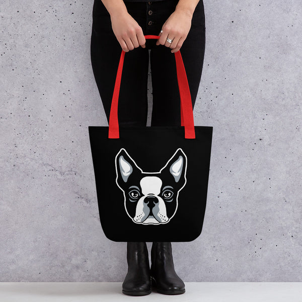 Boston Terrier Tote Bag carried by a women