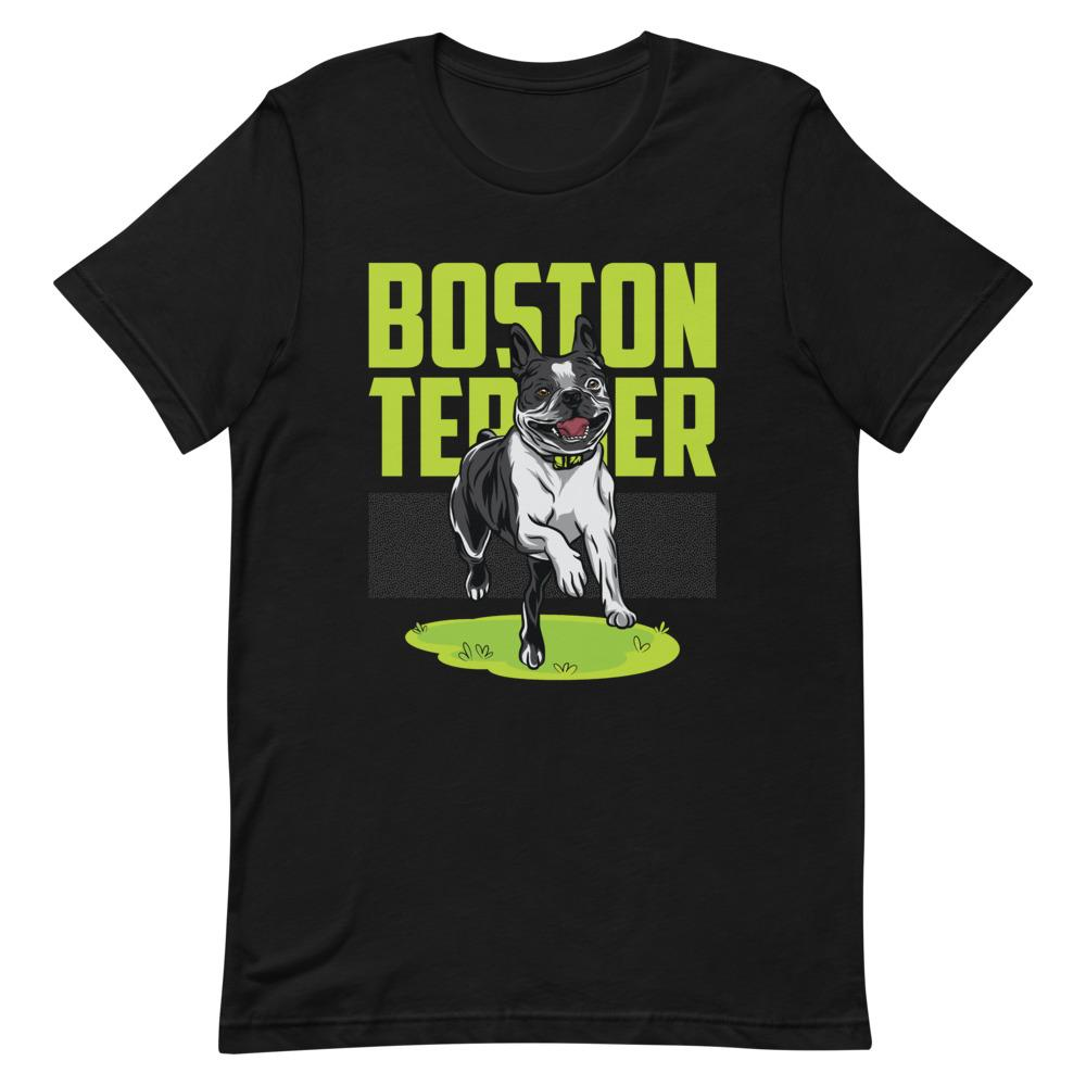 Happy Boston Terrier Running - Unisex T-Shirt - Boston Terrier World