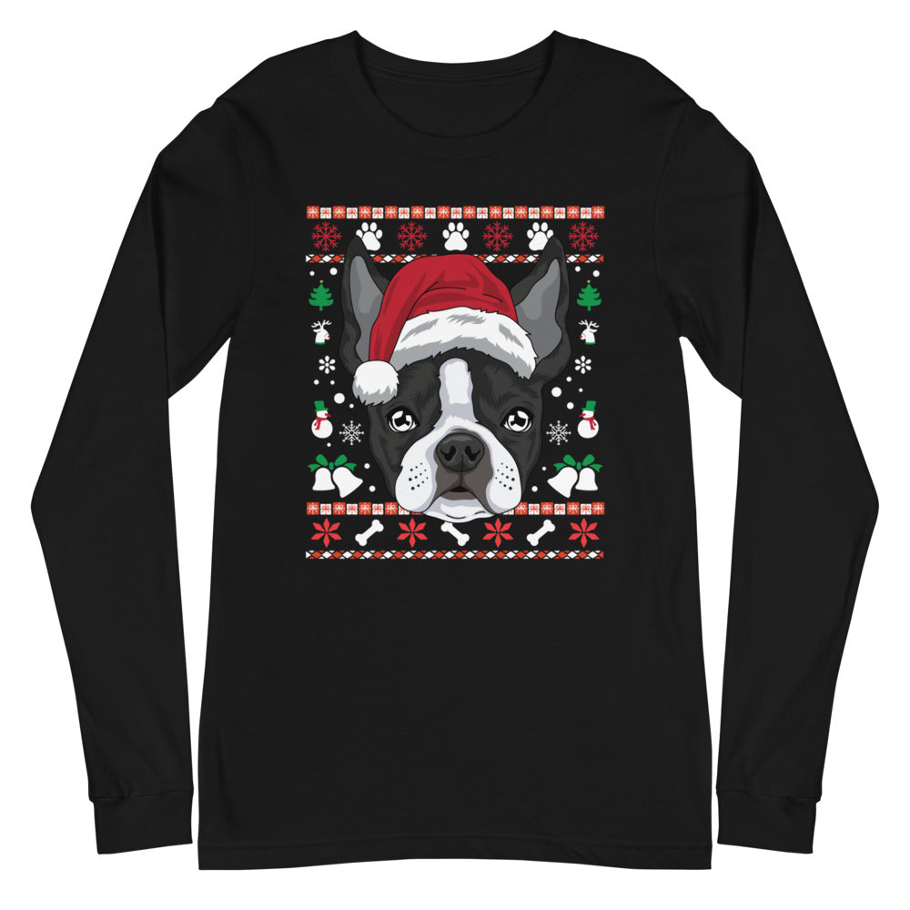 Ugly Christmas Boston Terrier Long Sleeve Tee