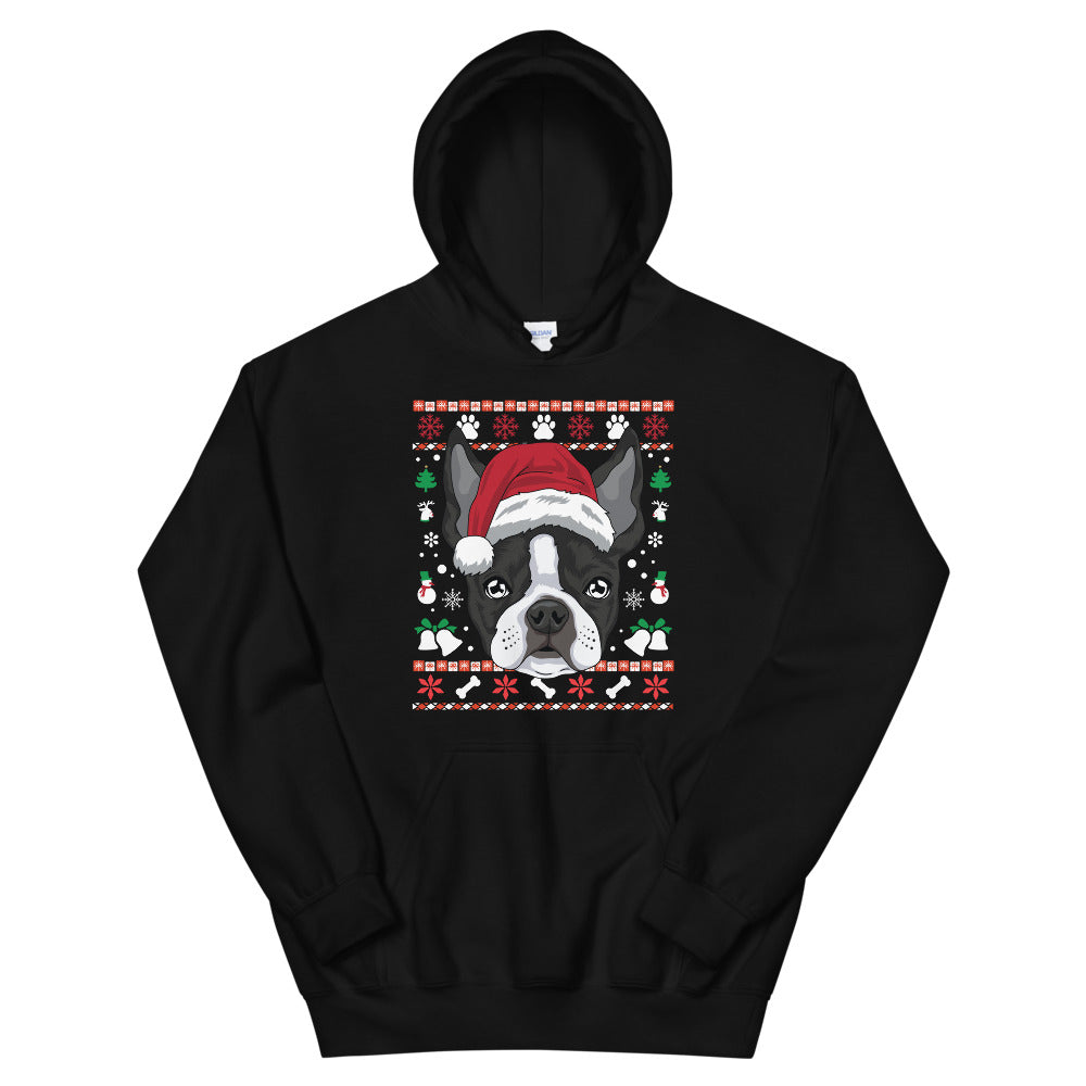 Ugly Christmas Boston Terrier Hoodie