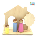 Wooden Dollhouse and Family Art Kit