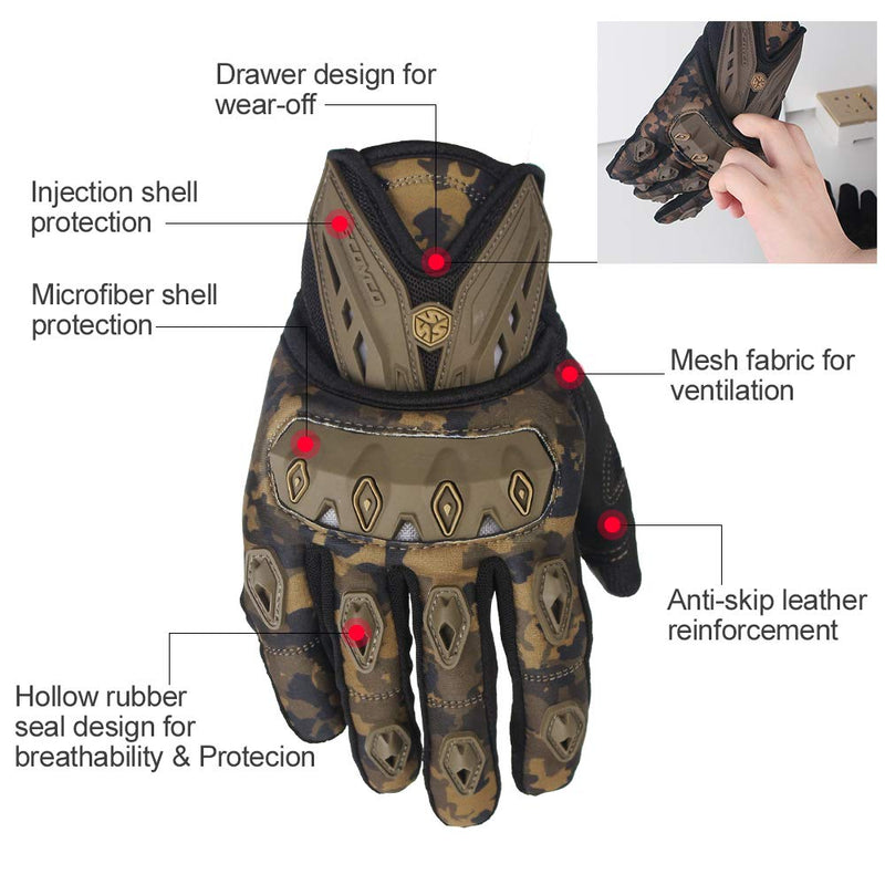 Scoyco MC10 Camouflage Riding Gloves with touch screen