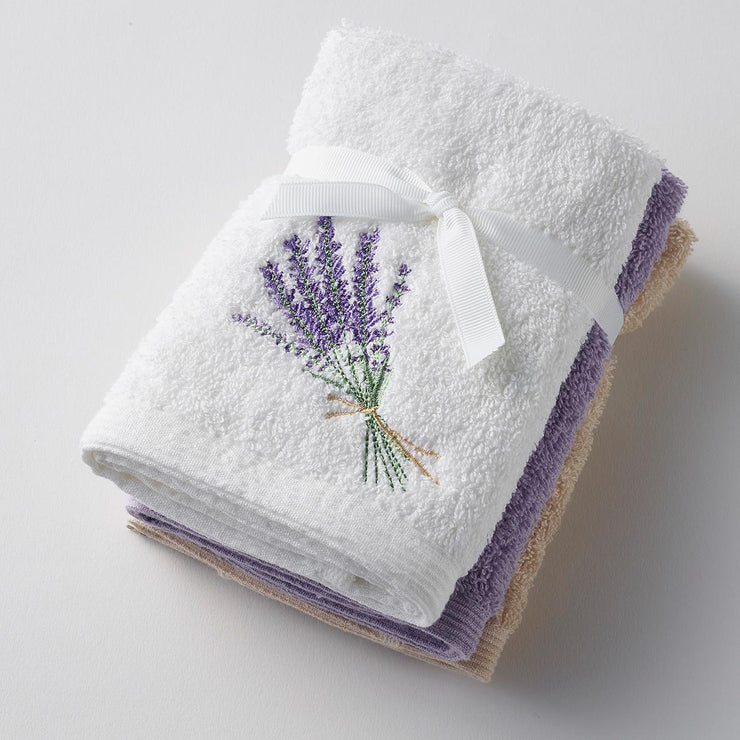 Pilbeam - Lavender Bouquet x 3 Face Washer Pack Tied