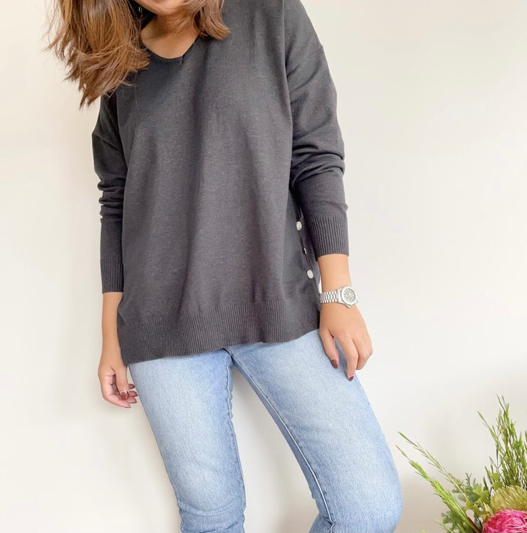 Silver Wishes - Side button knit top