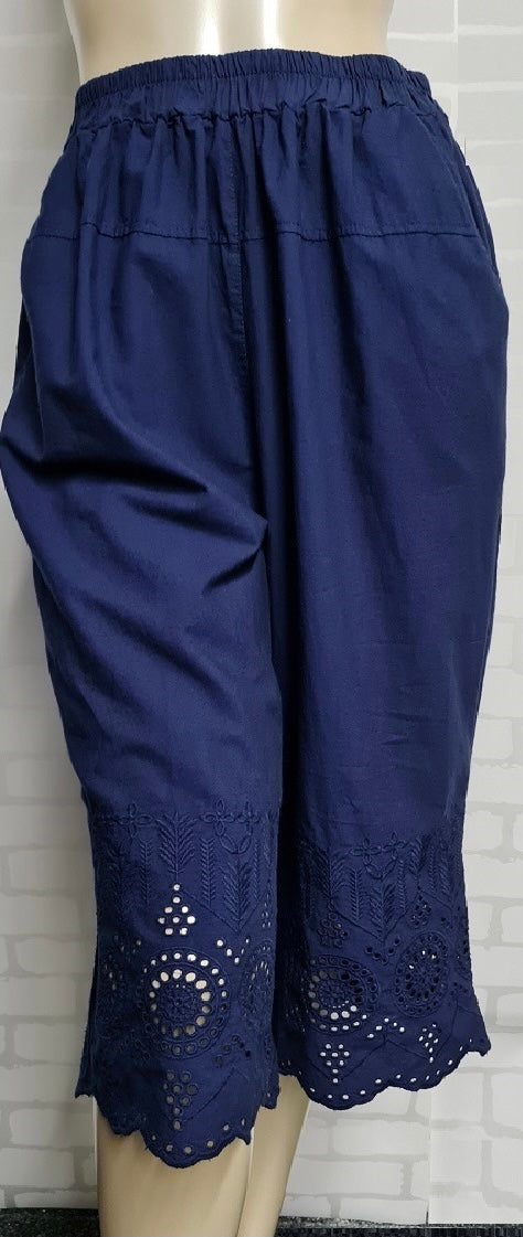 Miss Lemon - 3/4 cotton elastic band embroidered pants with pockets