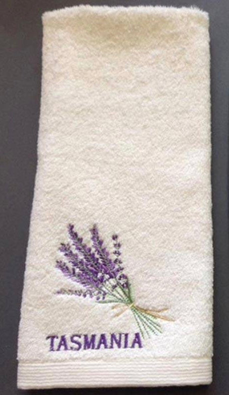Pilbeam - Tasmania Lavender Bouquet embroidered hand towel