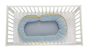2in1 Babynest + Junior sleepy-C - Multifunktionales Babynest, Babybett, blau classics